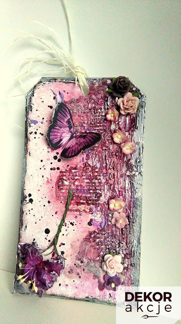 tag mixed media violet flowers