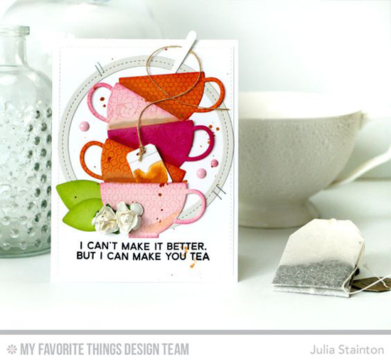 Handmade card from Julia Stainton featuring Laina Lamb Design Cup of Tea stamp set and Tea Party Die-namics, Lined Up Dots Background stamp, Single Stitch Line Circle Frames and Geometric Greenery Die-namics #mftstamps
