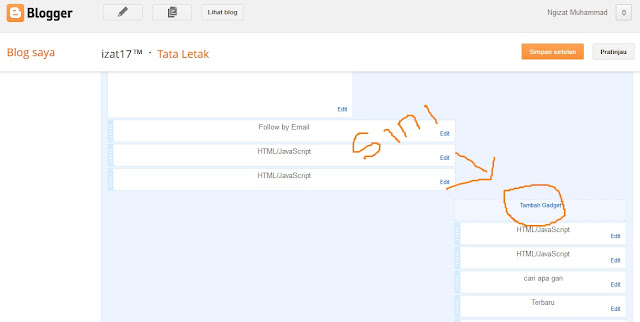 Cara tambah gedget di Blog