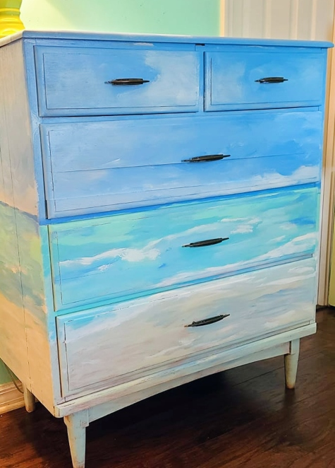 Ocean Beach Painting Dresser Makeover Idea
