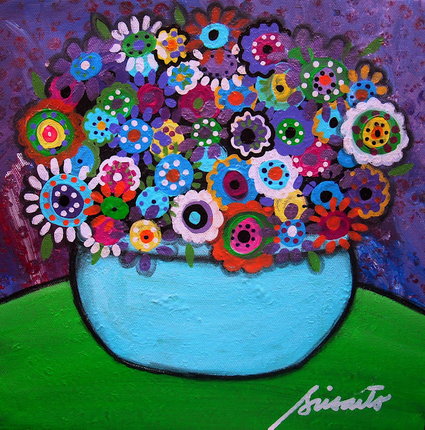 Mexican Folk Art Flower Paintings