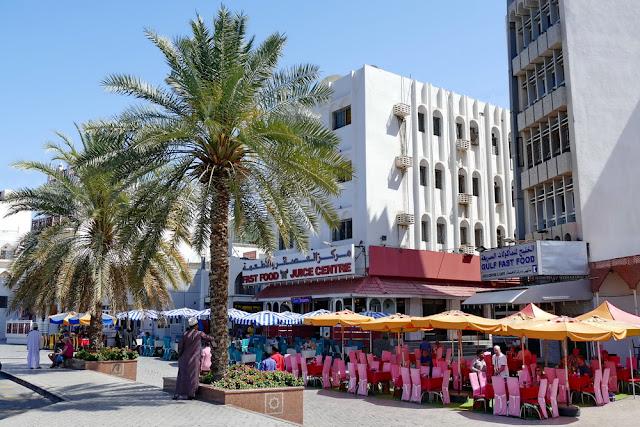 Restaurant, Mutrah, Souk, Corniche, Muscat, Palmen, pink, Oman