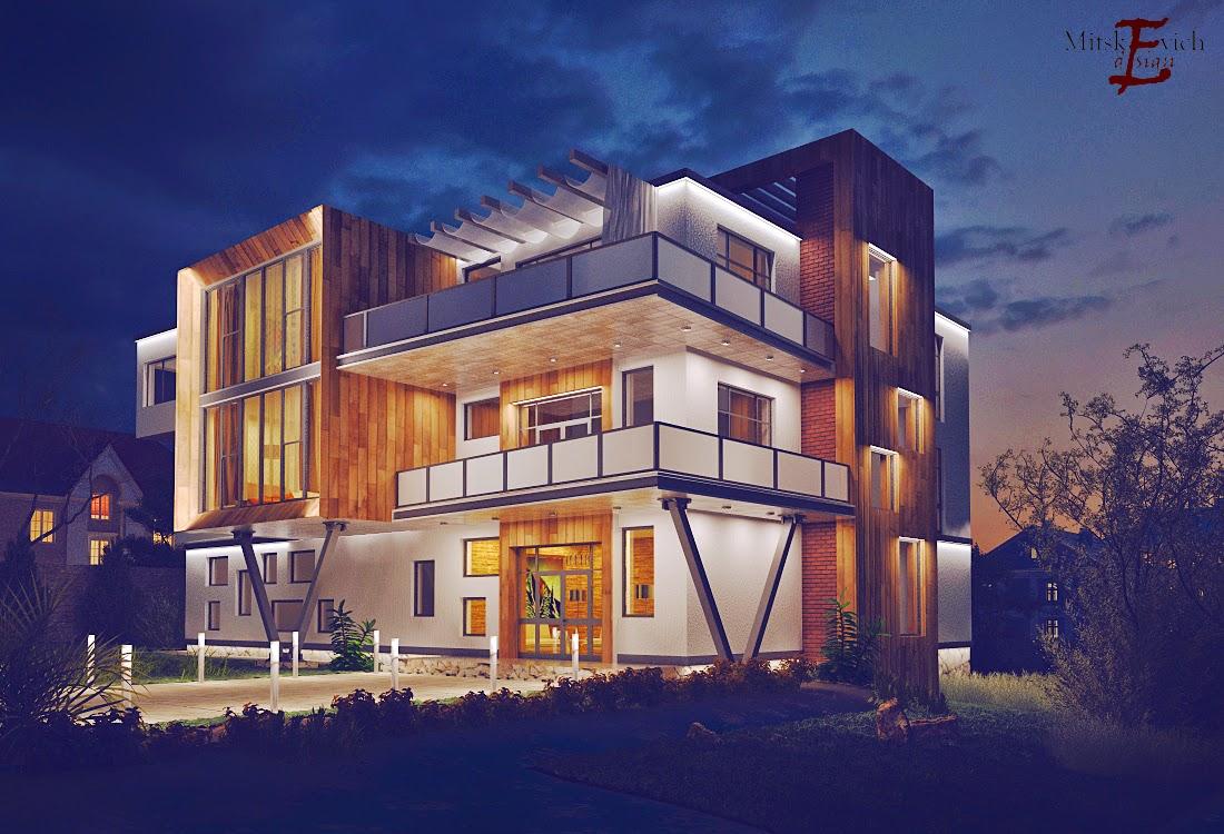 проект дома в стиле хай тек (ночь)