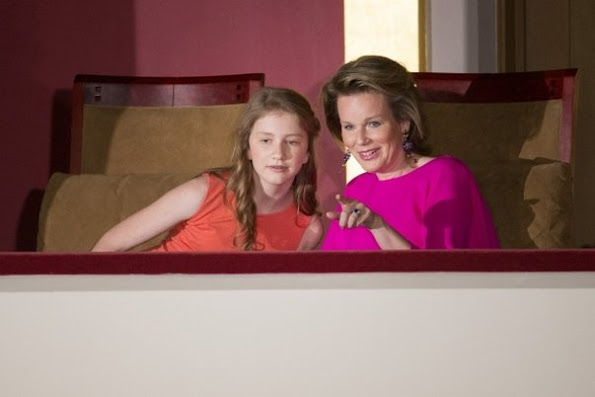 Queen Mathilde and Crown Princess Elisabeth of Belgium attends the finals of the 2016 Queen Elisabeth Piano Competition at Palace of Fine Arts. Czech pianist Lukáš Vondrácek. Style of Queen Mathilde, dress, style