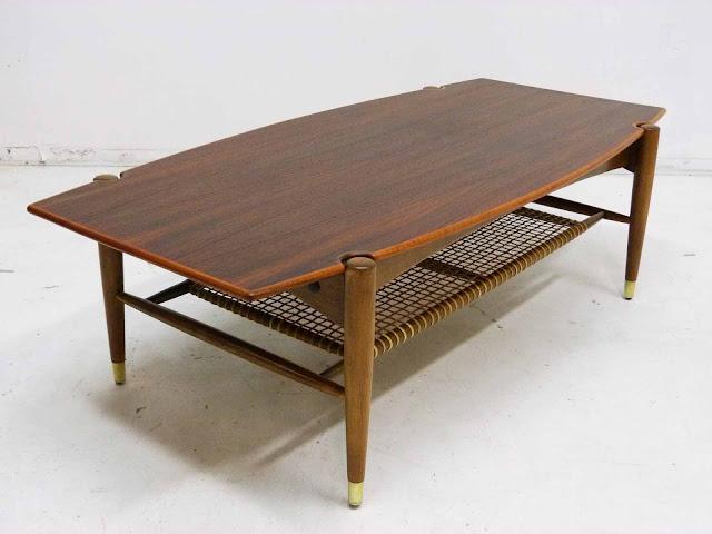 Dux Teak Walnut Cane Shelf Surfboard Coffee Table Side Angle