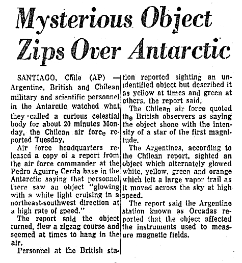Mysterious Object Zips Over Antartic - Syracuse (NY) Post-Standard 7-7-1965