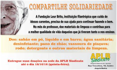 """APLB lança a campanha """"COMPARTILHE SOLIDARIEDADE"""" prol da Fundação Leur Brito"""