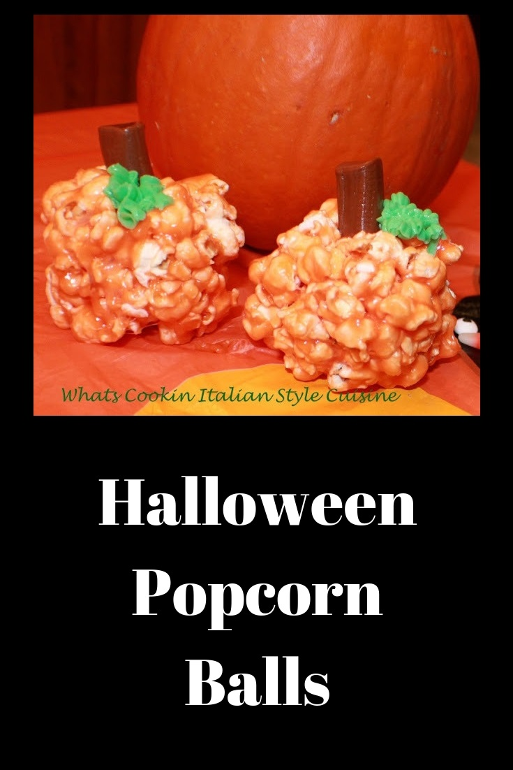 these are easy popcorn balls for Halloween shaped into pumpkin heads  Halloween Marshmallow  Pumpkin Popcorn Balls