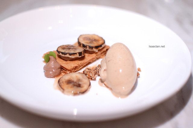 Caramelized Banana with Cepe Mushroom, Milk Chocolate and Cepe Mushroom Ice-cream