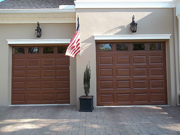 Two single garage doors faux painted to look like wood for Paint garage door to look like wood