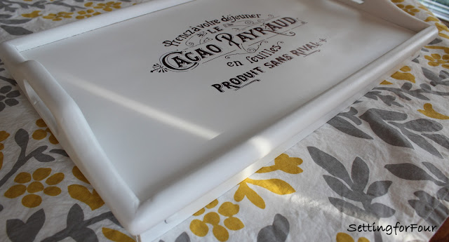 How to makeover a tray with paint! Transform a wood tray into this beautiful black and white tray!