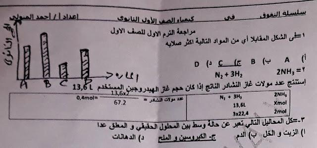 امتحان الكيمياء المسرب واجابته النموذجية للصف الاول الثانوي 2019