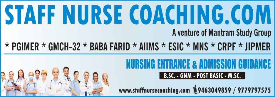 Staff Nurse-Nursing Entrance Coaching: B.Sc | MNS | Post-Basic | M.Sc