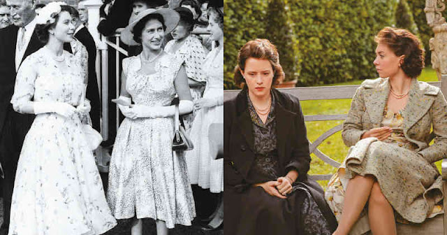 Comparación entre Isabel II y su hermana Margarita y las actrices que la interpretan en The Crown
