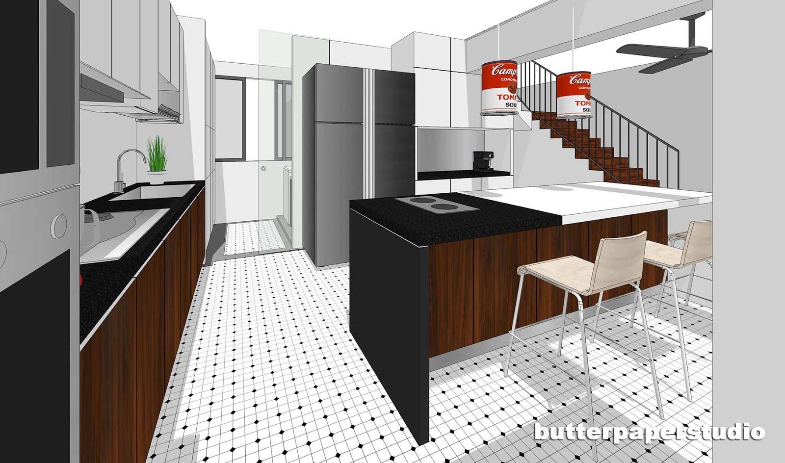 Butterpaperstudio reno hougang maisonette kitchen for Maisonette plans