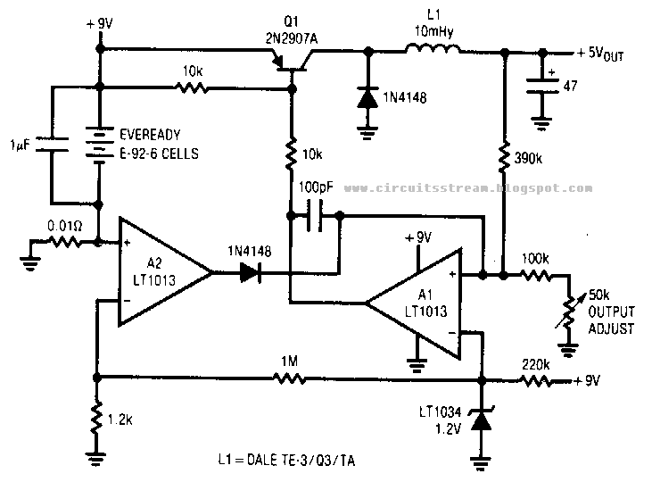 Simple Low Power Switching Regulator Circuit Diagram
