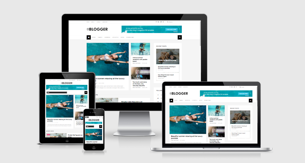 The Blogger - Responsive Grid Minimalist Blogger Template