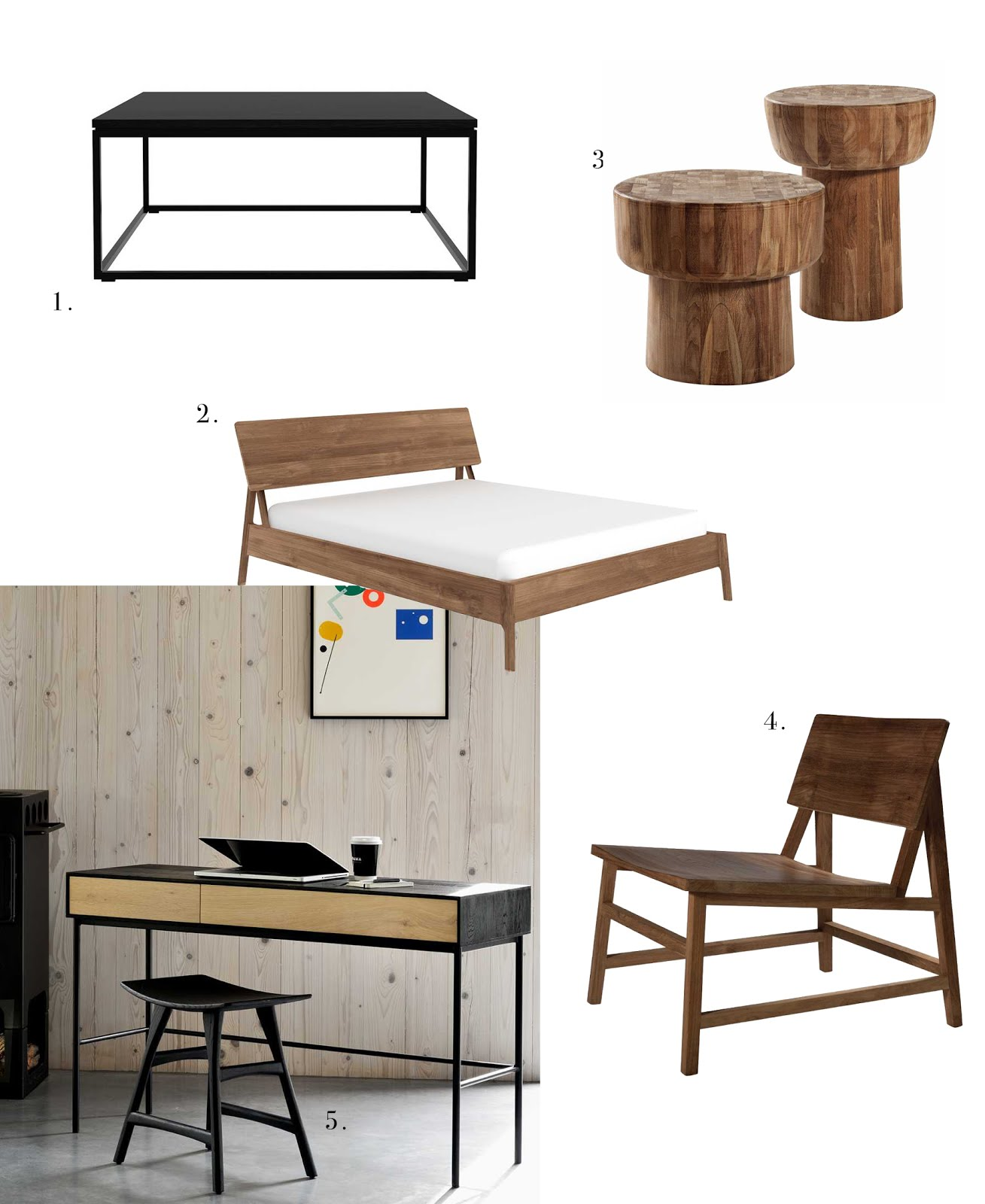 Ethnicraft, mister design, cone hanglamp, furniture, wood, solid, massief hout, teak, walnoot, eik, meubels, osso kruk, thin salontafel, N2