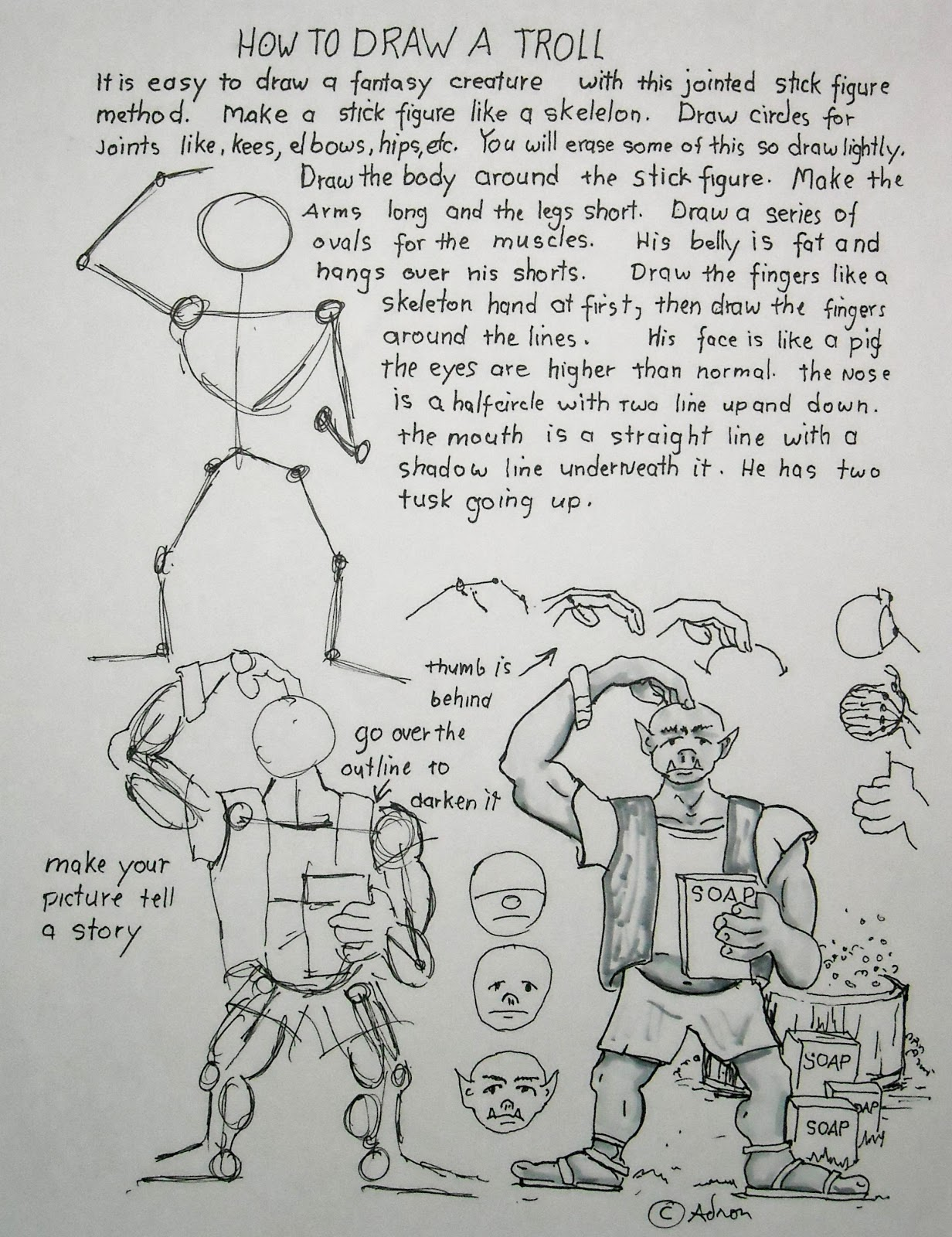 How To Draw Worksheets For The Young Artist How To Draw A Troll Worksheet And Lesson