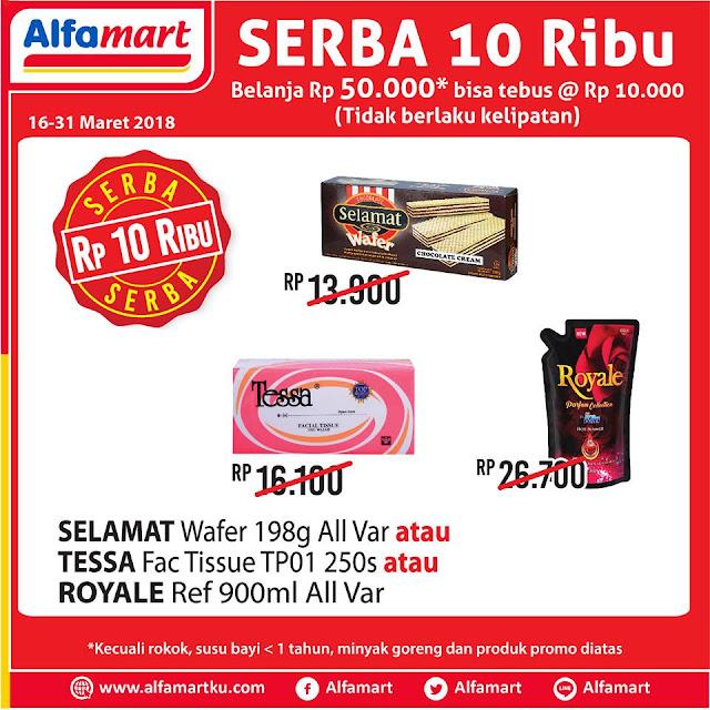 Serba 10ribu! Belanja Rp 50.000 di Alfamart bisa tebus murah @Rp 10.000 (tidak berlaku kelipatan) produk di bawah ini. Info lengkap klik http://ow.ly/drPp30j6RSE