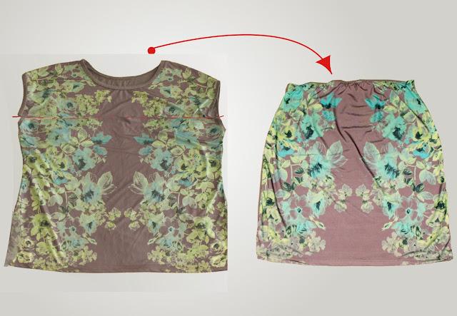 spódnica z bluzki przeróbka