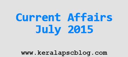 Current Affairs July 2015 PDF