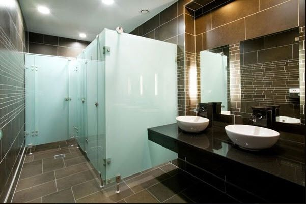 Frameless Mirror Sliding Doors Frosted Glass Toilet Partitions Shower Doors New York