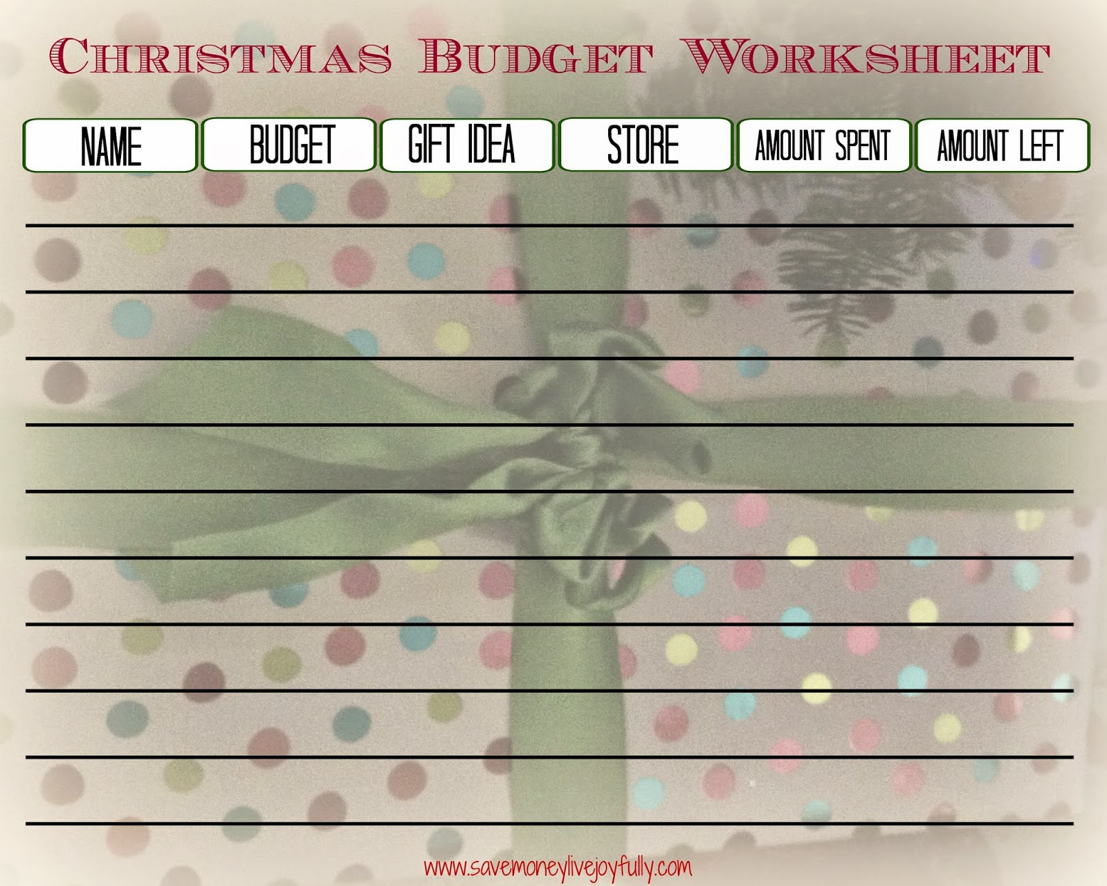 Save Money Live Joyfully Free Christmas Budget Worksheet Printable