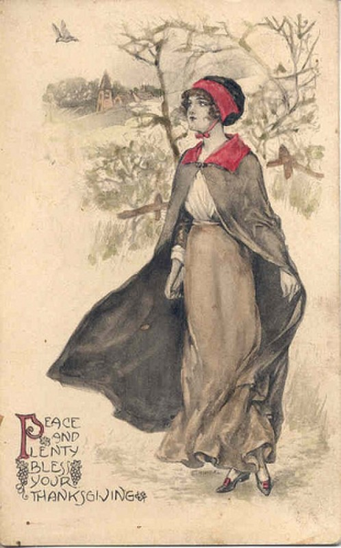 Vintage postcard, Peace and Plenty Bless Your Thanksgiving. Illustration of a young pilgrim in cloak and cap enjoying a walk in the winter woods. Was She on the Mayflower and other stories of giving thanks. marchmatron.com