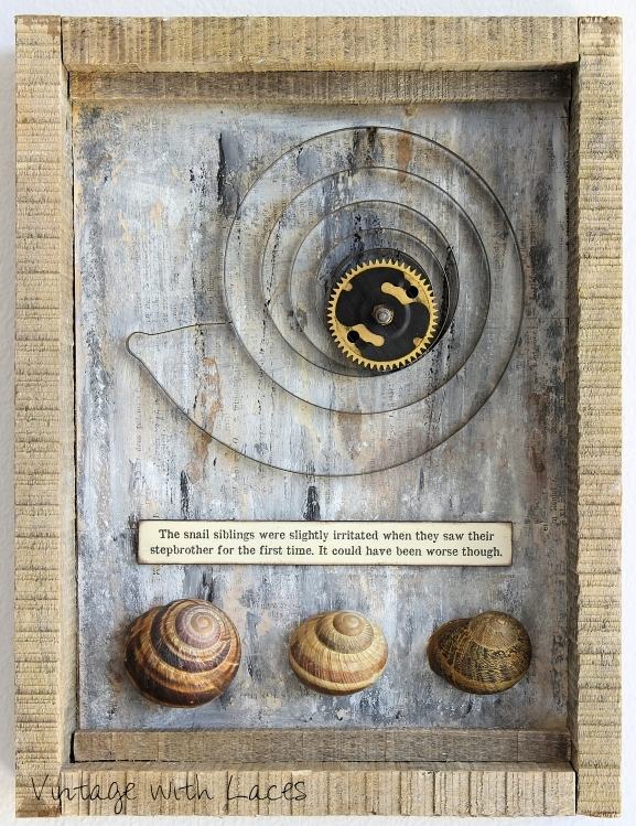 Assemblage Art: The Snail Siblings and their Stepbrother by Vintage with Laces