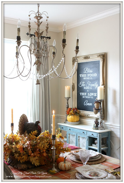 French Country-Thanksgiving-Table Setting-DIY Chalkboard-Prayer-From My Front Porch To Yours