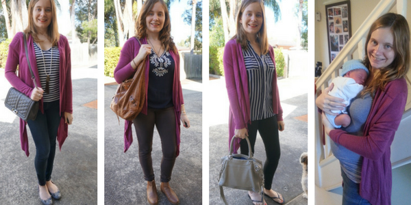4 outfit ideas of a purple cardigan with blue tops and jeans | awayfromtheblue