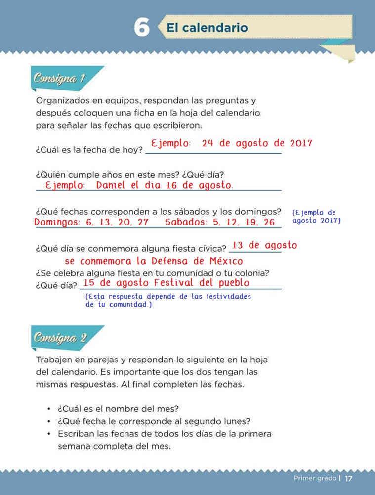 Libro de textoDesafíos MatemáticosEl CalendarioPrimer gradoContestado