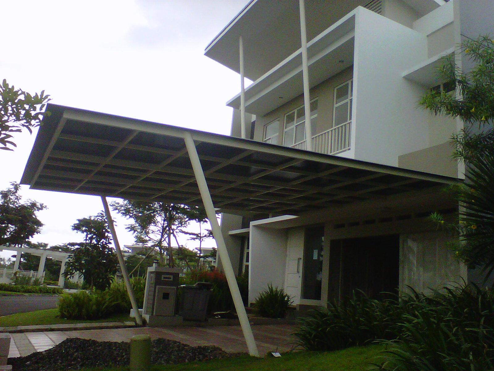 kanopi baja ringan tiang miring gambar expo desain rumah