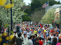 The 2010 Boston Marathon in Wellesley (Credit: Peter Farlow , CC BY-SA 3.0) Click to Enlarge.