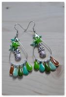 boucles d'oreilles gouttes ananas turquoises
