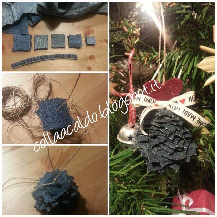 Addobbi Natalizi Jeans.Collaacaldo Natale In Jeans 2 Ovvero Come Riciclare Vecchi Jeans Per Creare Decorazioni Natalizie Handmade Facili Veloci Low Cost