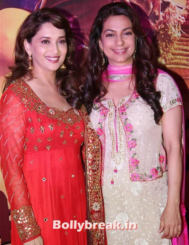 Madhuri Dixit and Juhi Chawla, Gulaab Gang Movie Premiere Pics