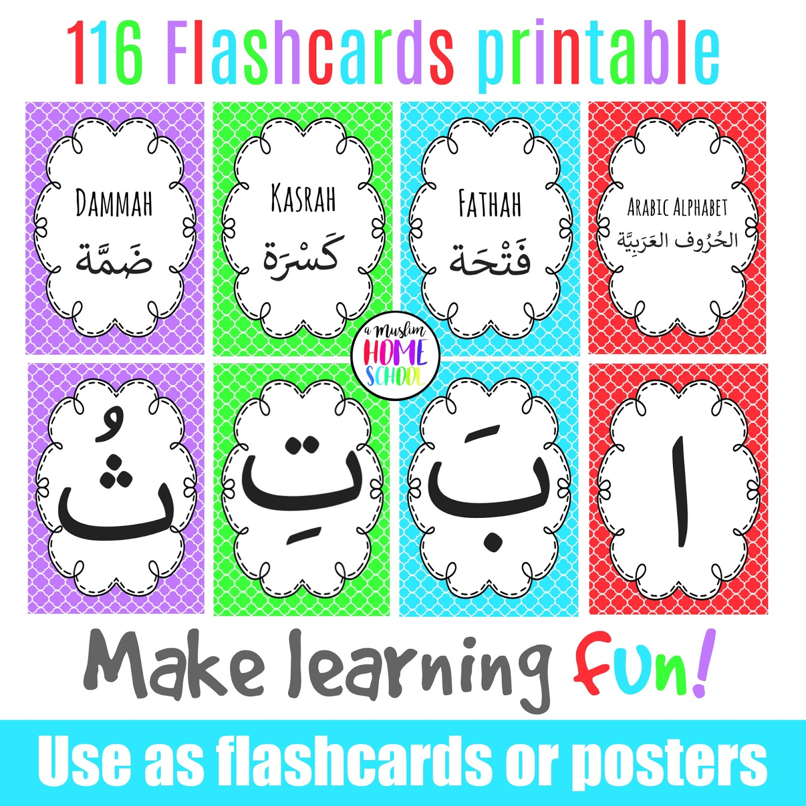A Muslim Homeschool Printable Arabic Alphabet Flashcard