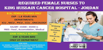REQUIRED NURSES TO KING HUSSAIN CANCER HOSPITAL - JORDAN