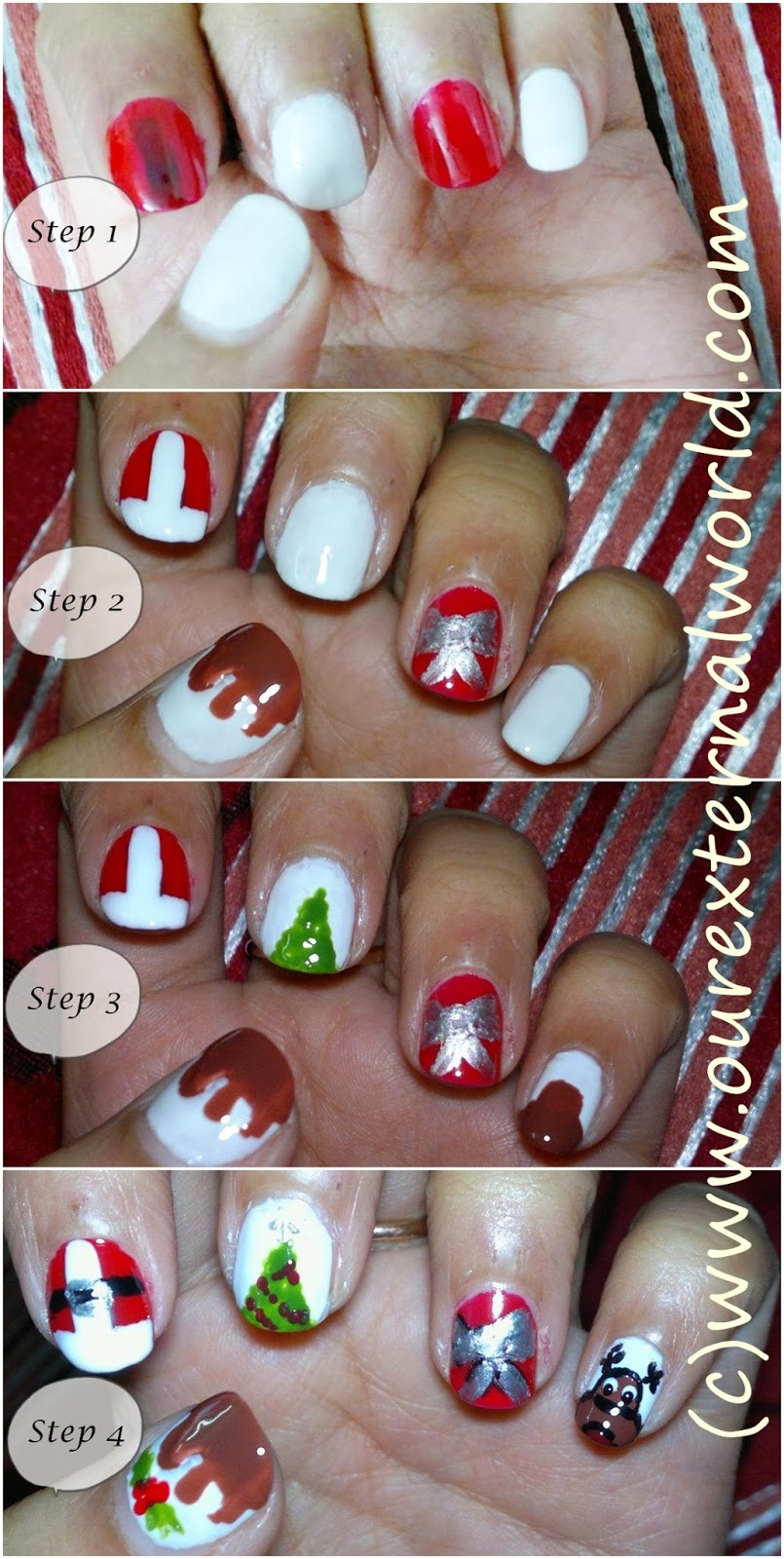 Christmas Nail Art Step By Step Tutorial For Santa Claus