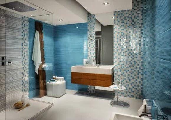 Meramik kamar mandi yang indah dan cerah