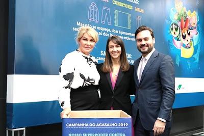 Bia Doria, Adriana Alcântara e Filipe Sabará no lançamento da Campanha do Agasalho 2019 - Divulgação
