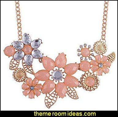 Bohemia Style Flower Shaped CZ Rhinestone Bubble Bib Choker Statement Chain Necklace