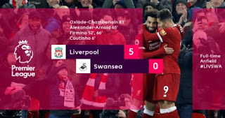Liverpool menang 5-0 atas Swansea City