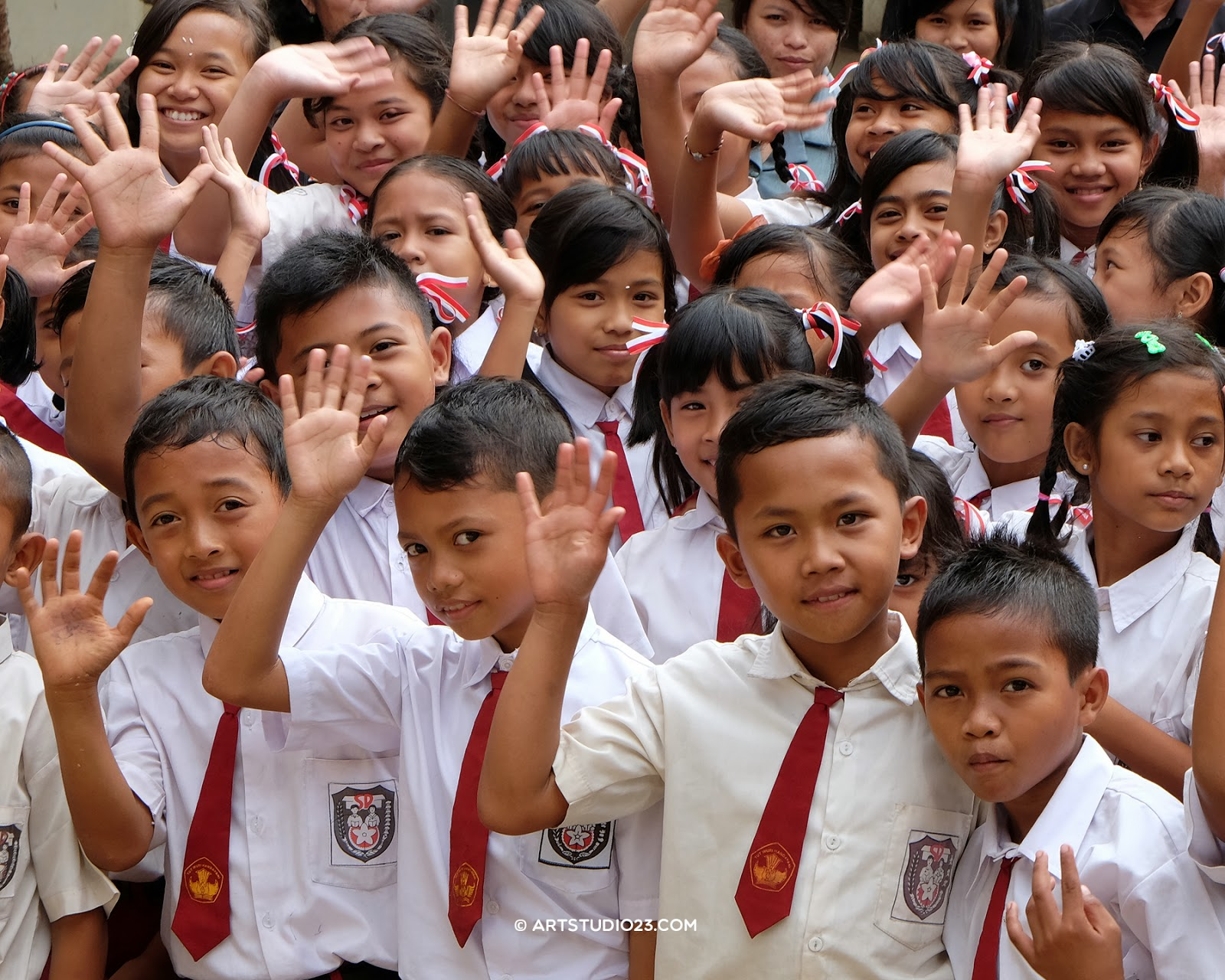 Indonesian children in school uniform