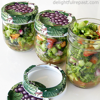 Broccoli Salad -- in half-pint canning jars for lunch on the go / www.delightfulrepast.com
