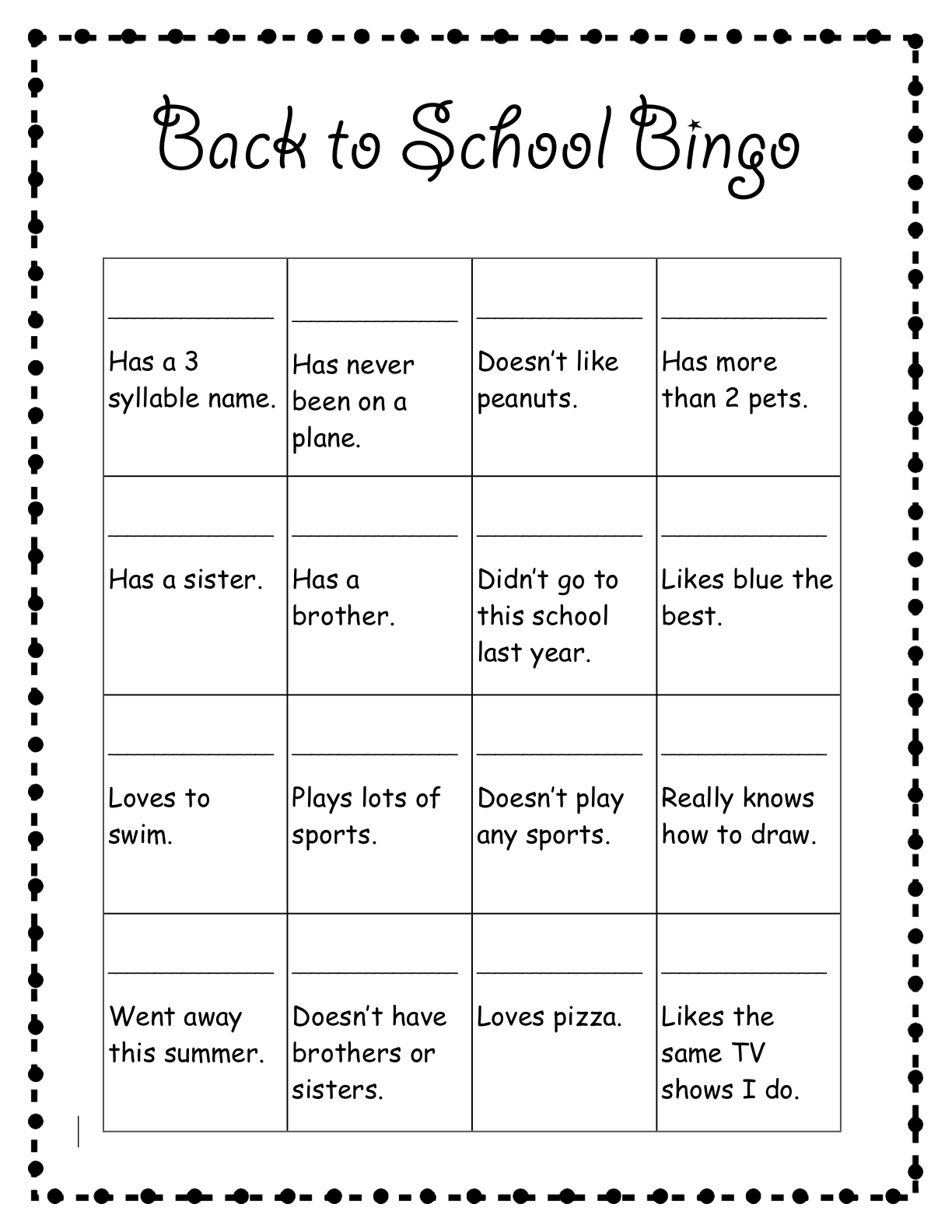 First Day Of School First Day Of School Activities Bingo