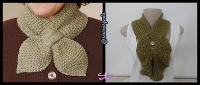 cachecol feminino gola feminina mulher inverno lindo quente fofo elegante trico tricot croche lã barbante laço verde musgo