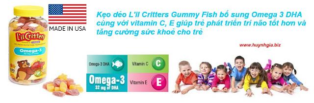 Kẹo bổ sung Omega 3 DHA L'il Critters Gummy Fish 180 Viên Của  Mỹ www.huynhgia.biz